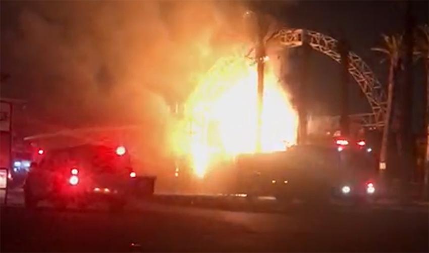 השריפה במועדון המאיו (צילום: דוברות כיבוי אש)