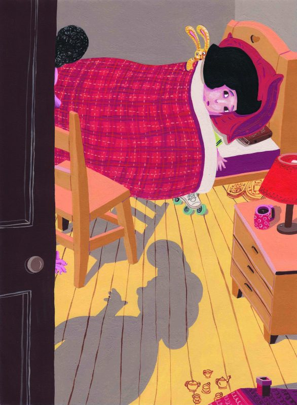 איור לסיפור הקצר דוקטור ספגטי ודוקטור פסטו, 2012, פורסם במגזין נידו, אקריליק ודיו על נייר. קרדיט אמן - מרב סלומון.