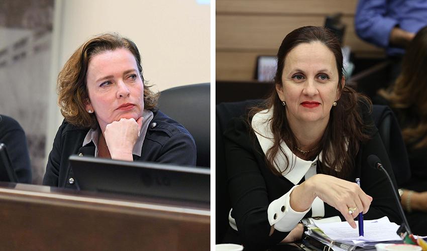 המשנה ליועצת המשפטית לממשלה דינה זילבר וראש העיר עינת קליש רותם (צילומים: אמיל סלמן, ראובן כהן)