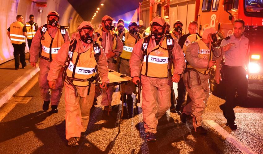 תרגיל משטרתי במנהרות הכרמל (צילום: דוברות משטרת ישראל)