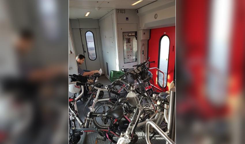 אופניים ברכבת (צילום: דוברות רכבת ישראל)