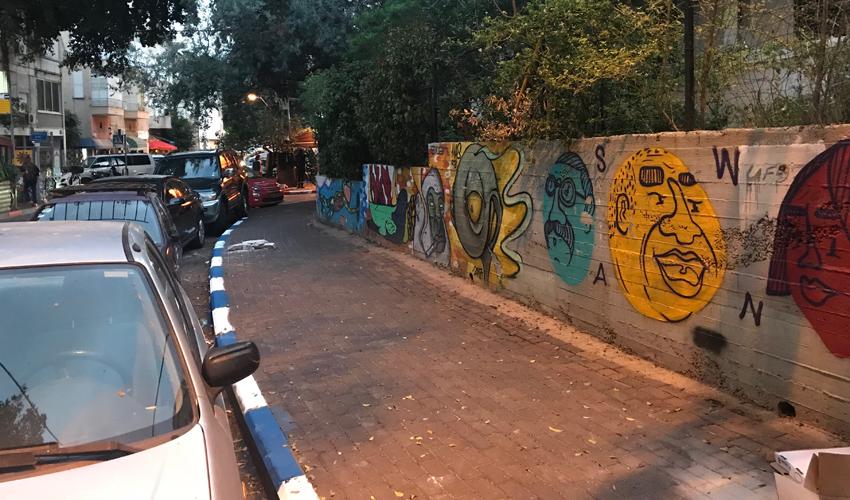 מדרכה צבועה בכחול-לבן (צילום: תדהר טויכר)