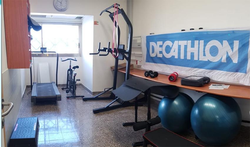 """חדר הכושר במחלקת הקורונה ברמב""""ם (צילום: דוברות הקריה הרפואית רמב""""ם)"""