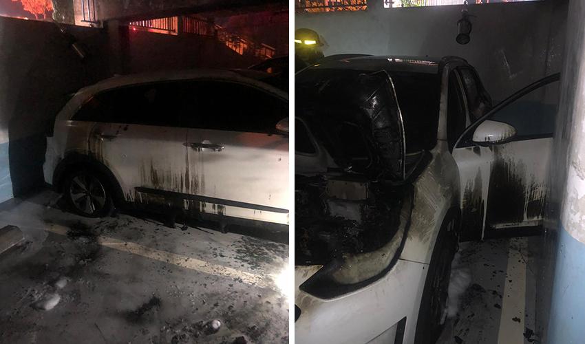 הרכב השרוף בחניון התת קרקעי (צילום: דוברות שירותי כבאות והצלה)