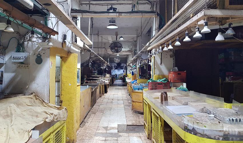 בניין שוק תלפיות בזמן הסגירה הכפויה (צילום: שבי סלמן)