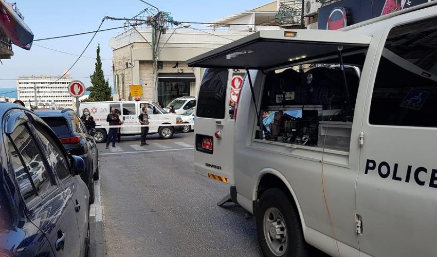 זירת הנחת המטען בהדר (צילום: דוברות משטרת ישראל)