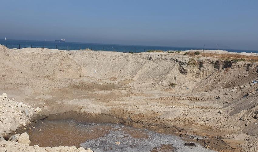 האתר בחוף קרית ים שבו בוצעו העבודות (צילום: ניר לוינסקי, המשרד להגנת הסביבה)