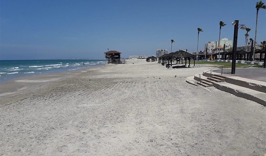 חוף קרית חיים אחרי ההזנה בחול (צילום: גידי בטלהיים, המשרד להגנת הסביבה)