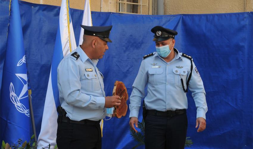 טקס חילופי המפקדים בתחנת זבולון (צילום: דוברות משטרת ישראל)