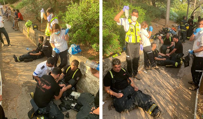 הטיפול בפצועים בשריפה (צילומים: דוברות שירותי הכבאות וההצלה)
