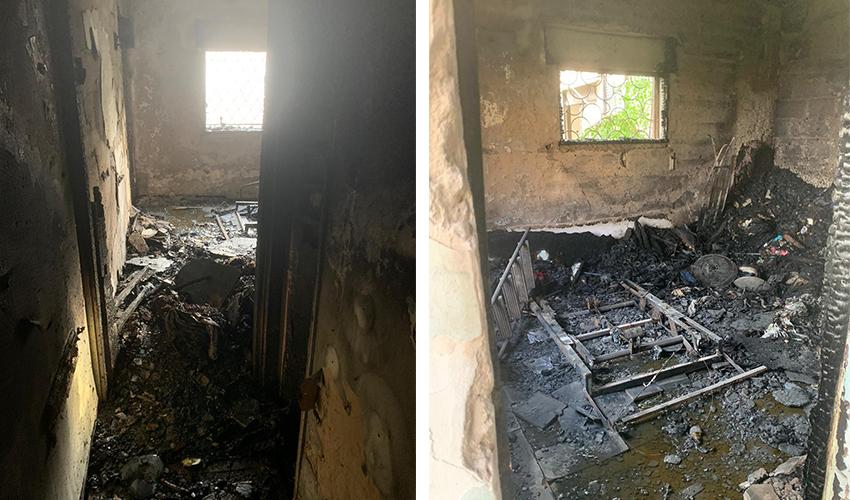 הדירה שנשרפה כליל (צילומים: דוברות שירותי הכבאות וההצלה)