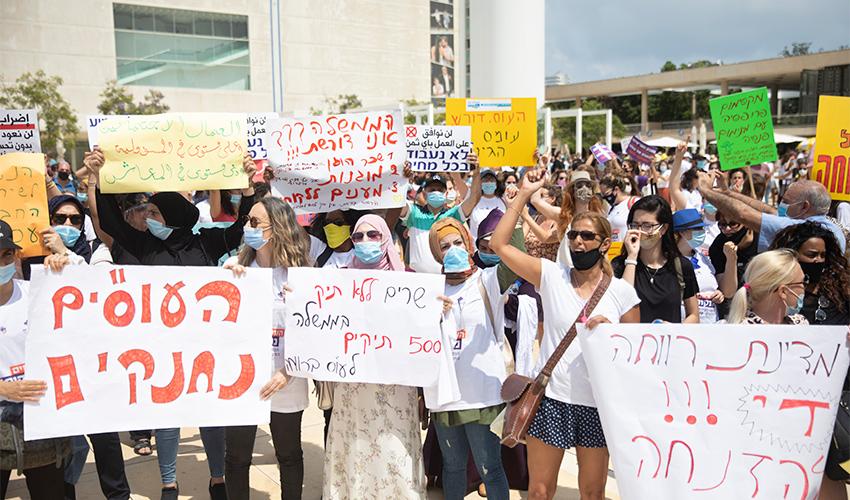 ההפגנה הגדולה של העובדים הסוציאליים בתל אביב ביום שני (צילום: מוטי מילרוד)
