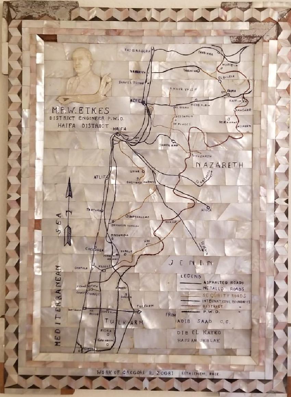 מפת ארץ ישראל מפנינים שיוצרה בבית לחם וניתנה לפרץ אטקס