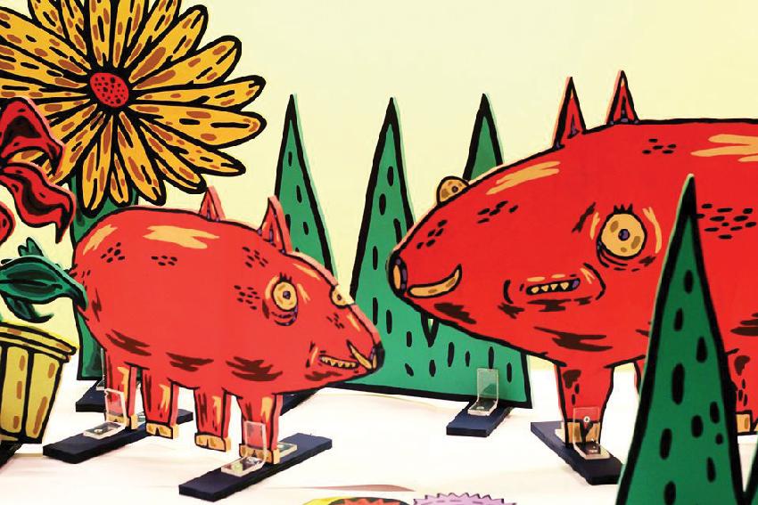 """חזירי בר בעבודה של עידו בק. """"רציתי לשמור על תחושה פמיליארית של משהו מוכר"""""""