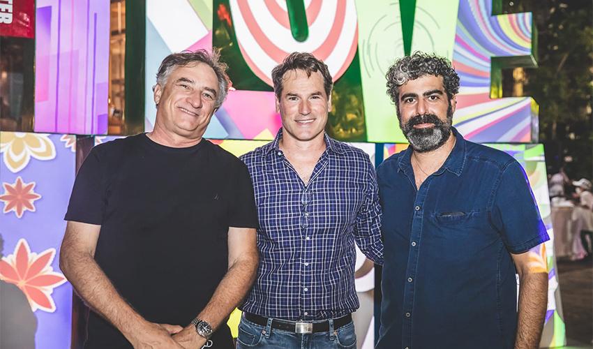 רני בנדר עם אבישי דותן וגיל גורן (צילום: ראובן כהן, דוברות עיריית חיפה)