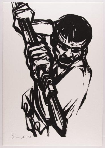 """אמן: גרשון קניספל, מתוך האלבום """"12 תחריטים ורישומים לשירי אלכסנדר פן"""" בתערוכה """"עם אובד"""". צילום: סטס קורולוב"""