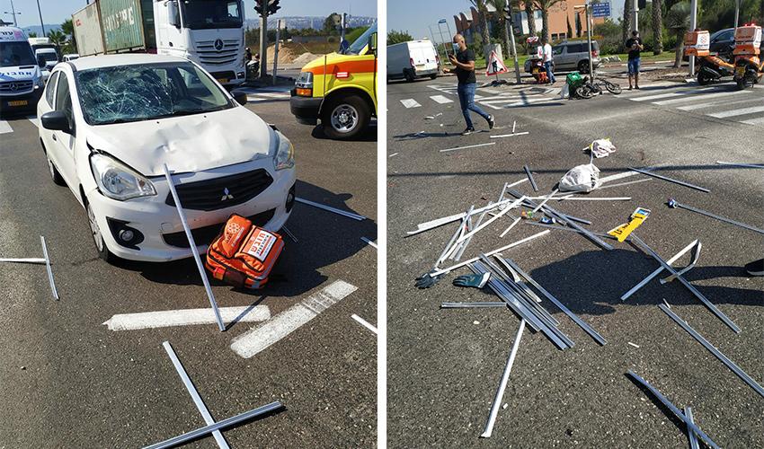 זירת התאונה בדרך יגאל ידין (צילום: דוברות איחוד הצלה)