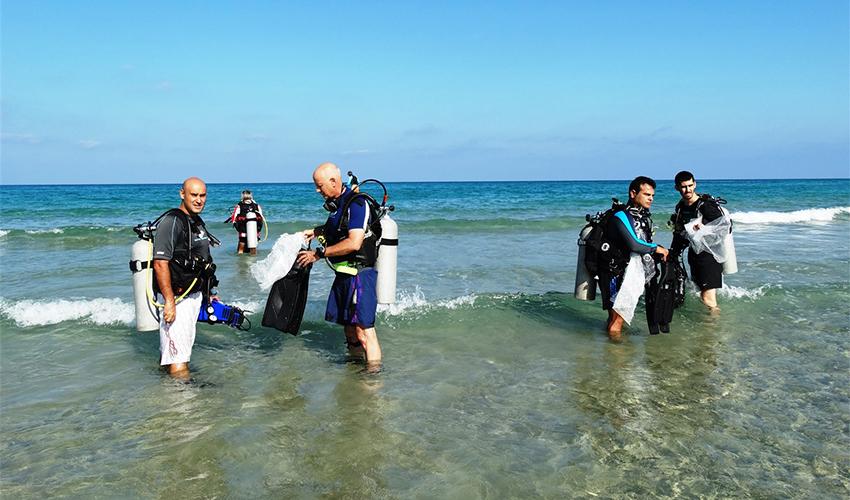 מנקים את הים מפסולת (צילום: דב גרינבלט, החברה להגנת הטבע)