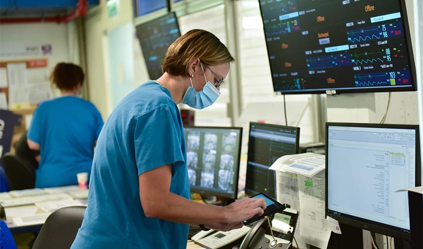 """מחלקת הקורונה של צה""""ל בקריה הרפואית רמב""""ם (צילום: דובר צה""""ל)"""