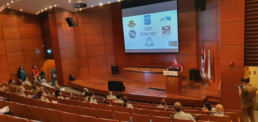 """ד""""ר מיכאל הלברטל בפתיחת ההכשרות של צוותי הרפואה הצבאיים (צילום: דוברות הקריה הרפואית רמב""""ם)"""