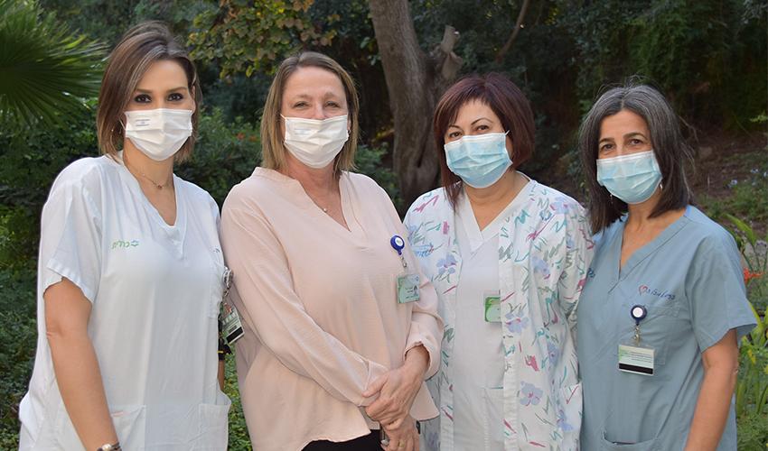 האחיות אורלי גטניו-הפלינג, נאילה סרור ונאדיה סמניה עם מנהלת הסיעוד אהובה טל (צילום: אלי דדון)