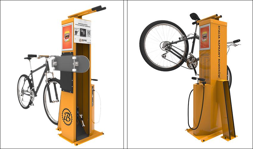 עמדות לתיקון אופניים שיוצבו בחיפה (צילום באדיבות allbikes)