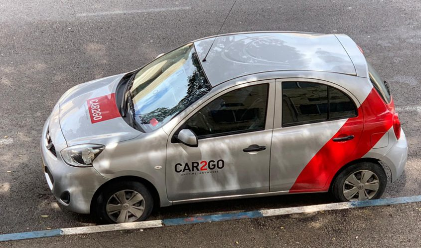 רכב אדום של Car2Go (צילום: חברת Car2Go)