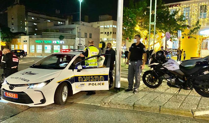 כוחות משטרה בשדרות בן גוריון (צילום: ראובן כהן, דוברות עיריית חיפה)