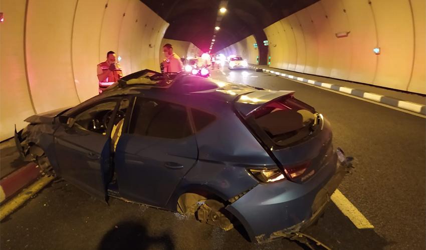 התאונה במנהרות הכרמל (צילום: דוברות איחוד הצלה)