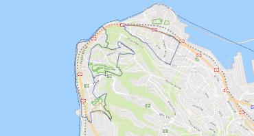 מפת האזורים המיועדים להתחדשות עירונית בחלקה הצפון מערבי של חיפה (אתר הפורטל הגיאוגרפי הלאומי)