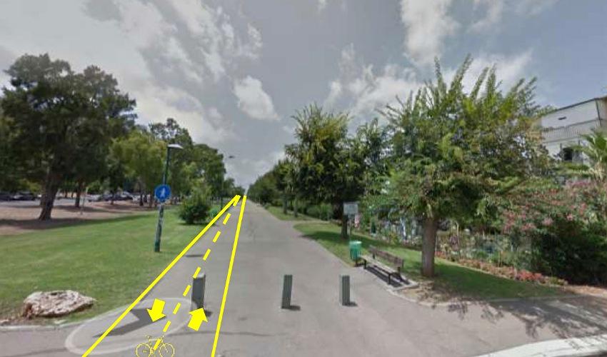 """שביל האופניים המתוכנן בטיילת קרית אליעזר (הדמיה מתוך אתר האינטרנט """"תובנות חיפה"""")"""