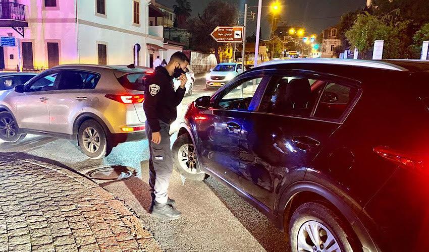 פעילות משטרתית במושבה הגרמנית (צילום: ראובן כהן, דוברות עיריית חיפה)