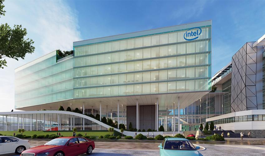 המבנה המתוכנן של חברת אינטל (הדמיה: משרד מושלי אלדר אדריכלים)