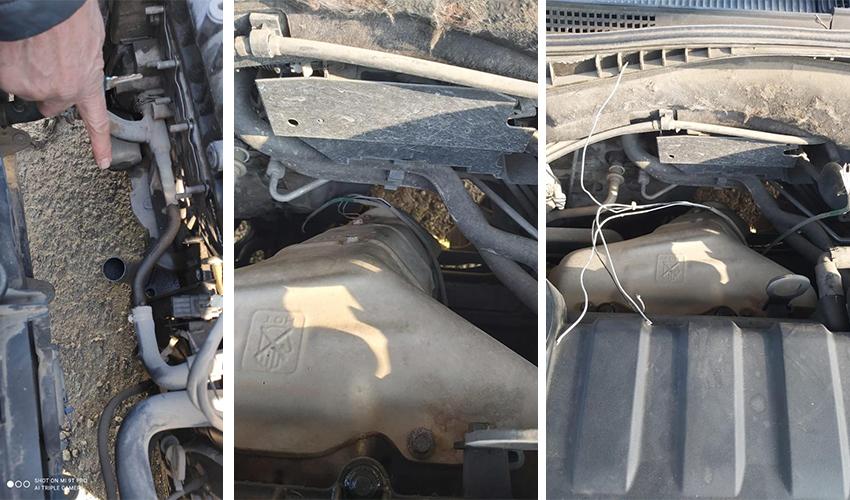 צינורות אגזוז שנוסרו לצורך גניבת ממירים קטליטיים (צילומים: דוברות משטרת ישראל)