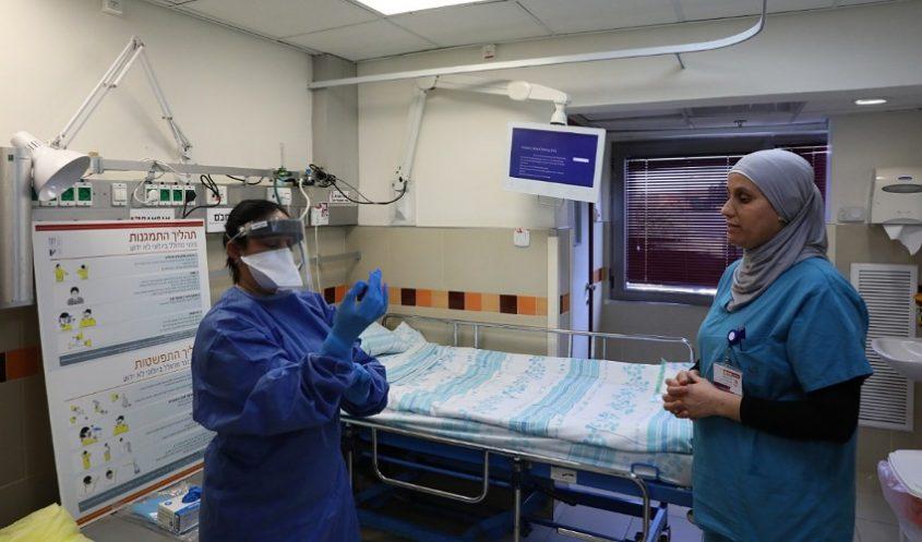 """מערך הקורונה בקריה הרפואית רמב""""ם (צילום: פיוטר פליטר, דוברות הקריה הרפואית רמב""""ם)"""