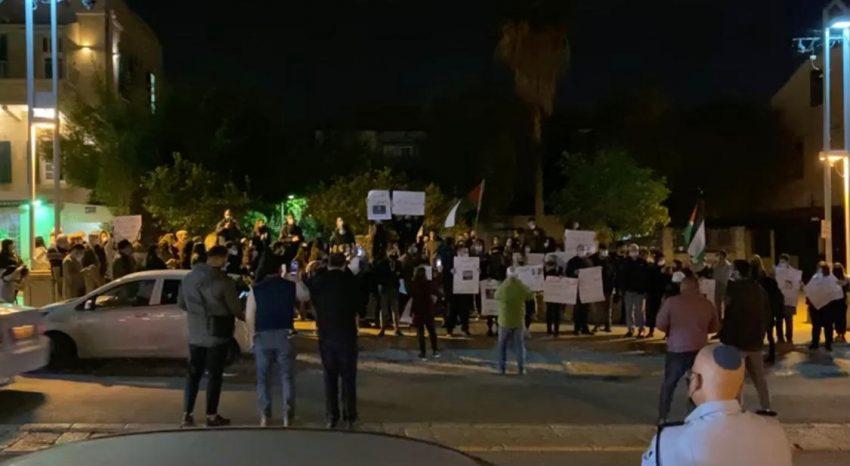 המחאה במושבה הגרמנית, הערב (צילום: דוברות משטרת ישראל)