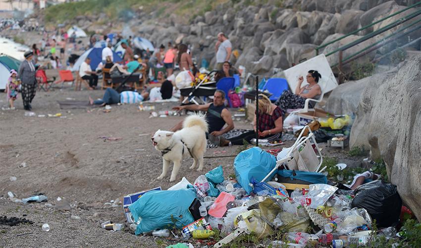 פסולת בחופי הכינרת (צילום: גיל אליהו)
