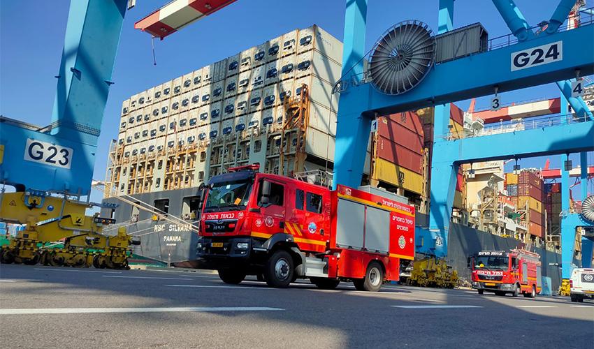 אירוע הדליפה בנמל חיפה (צילום: דוברות שירותי הכבאות וההצלה)