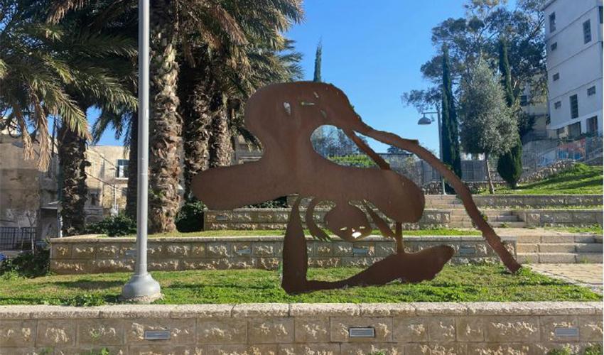 פסל של מנשה קדישמן בפארק בוואדי סאליב (הדמיה: סטודיו קריאייטיב דותן לידז'י)
