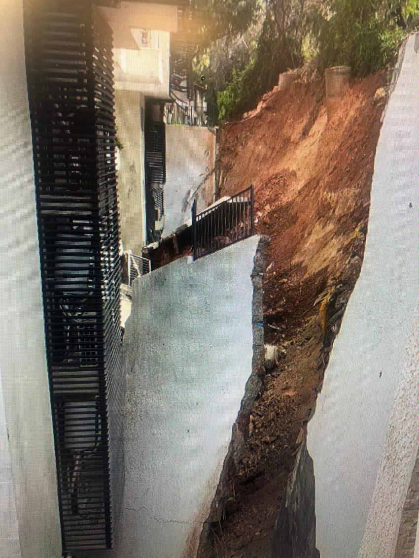 הקיר התומך שקרס (צילום: דוברות משטרת ישראל)