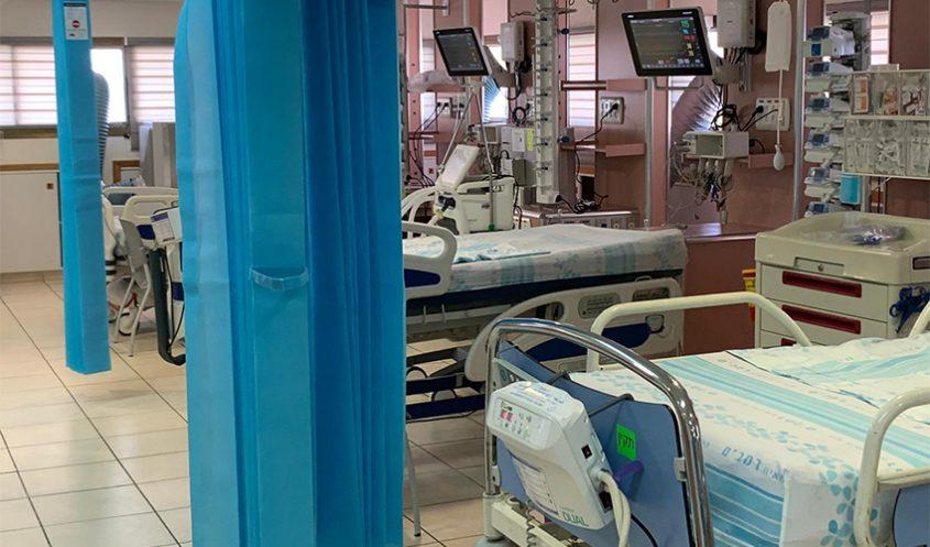 """מערך הקורונה בקריה הרפואית רמב""""ם (צילום: דוברות הקריה הרפואית רמב""""ם)"""