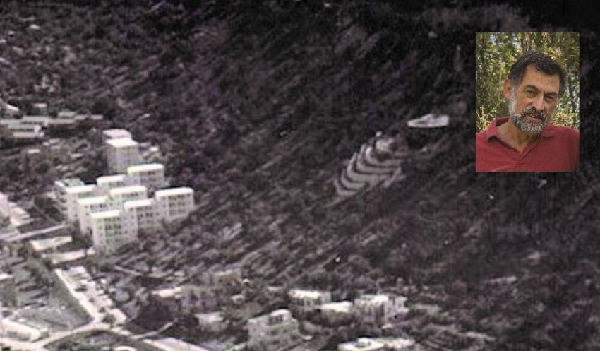 """ההר של קרימאגר המים שכונה """"הבריכה"""". למלעלה מימין: אברם קנטור (צילום: באדיבות אברם קנטור)ת אליעזר. למלעלה מימין: אברם קנטור (צילום: באדיבות אברם קנטור)"""