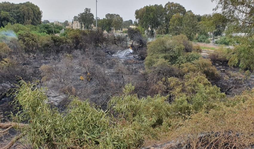 הושגה שליטה על השריפה הגדולה בקריות (צילום: כבאות והצלה - מחוז חוף)