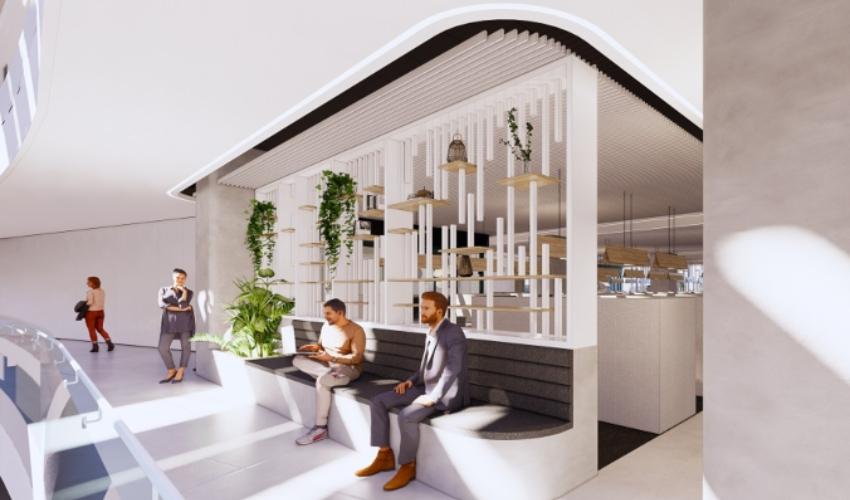 הקמפוס ההיברידי של אינטל בחיפה (הדמיה: אדריכל מושלי דגן וסטודיו ורד גינדי – אדריכלות פנים)