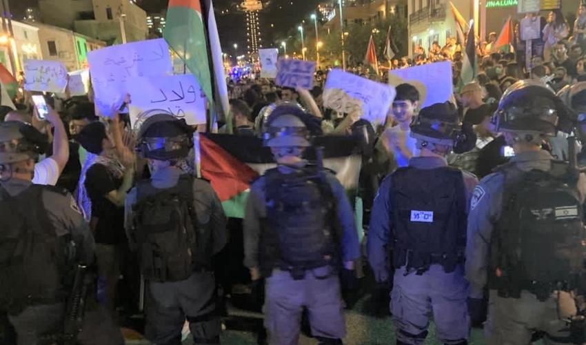 הפגנה בשדרות בן גוריון בחיפה (צילום: דוברות המשטרה)