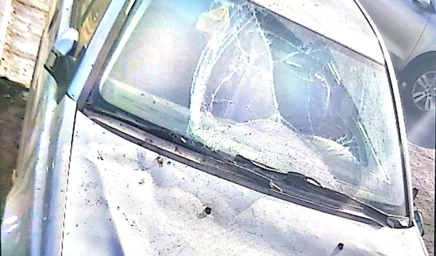 נזק לכלי רכב במהלך חגיגות האליפות של מכבי חיפה (צילום: דוברות המשטרה)