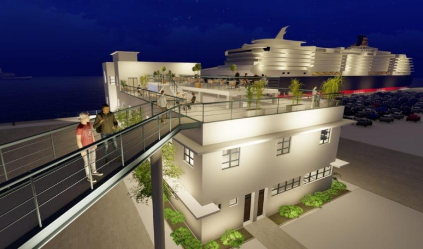 מבנה ההנהלה המנדטורי אחרי השיפוץ שיהפוך למרכז תיירות (הדמיה: י.י. גרנות אדריכלים)