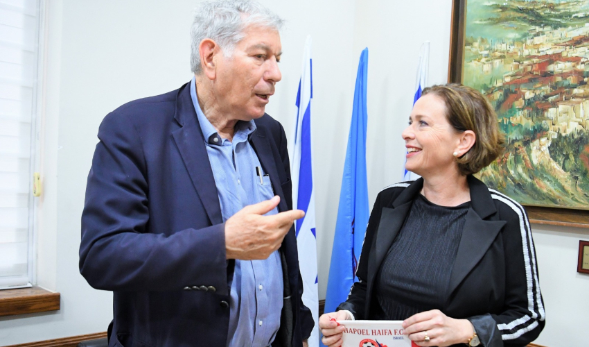 עינת קליש רותם ויואב כץ (צילום: ראובן כהן, עיריית חיפה)