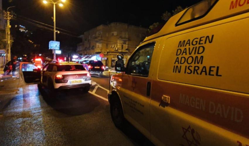 הולך רכב נפצע מפגיעת רכב ברחוב ארלוזורוב חיפה (צילום: דוברות ארגון הצלה - כרמל)