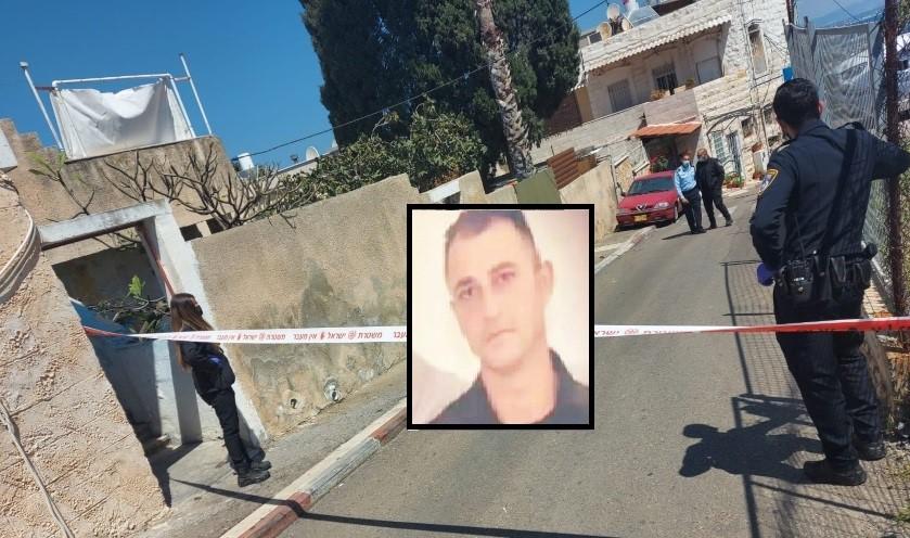 זירת אירוע הירי. בתמונה הקטנה: מוניר ענבתאוי (צילומים: דוברות המשטרה, מרכז מוסאוא)